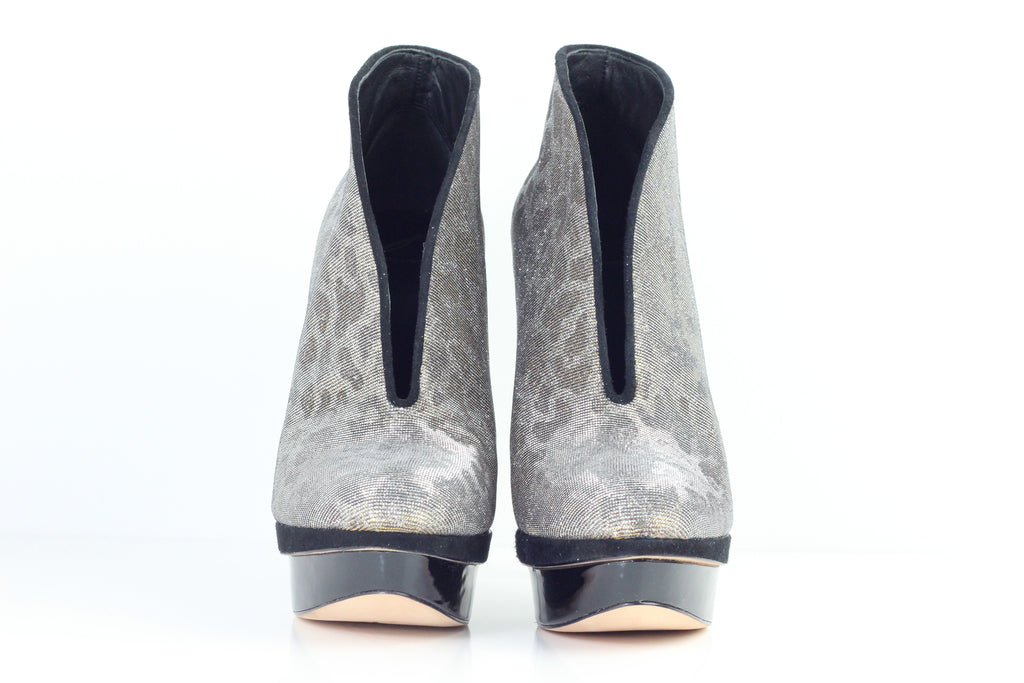 B Brian Atwood Gold & silver platform booties US:10