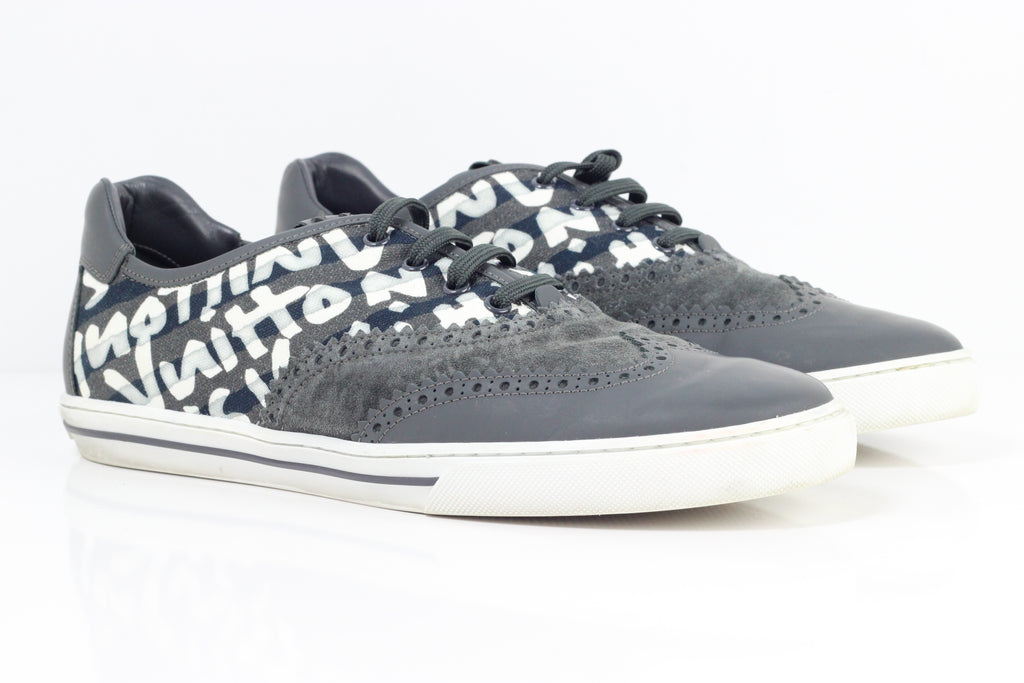Louis Vuitton Grey with Print Mens Sneakers