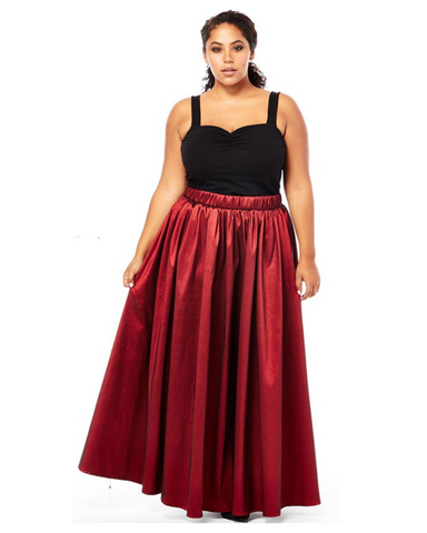 Plus Size Taffeta Maxi Skirt