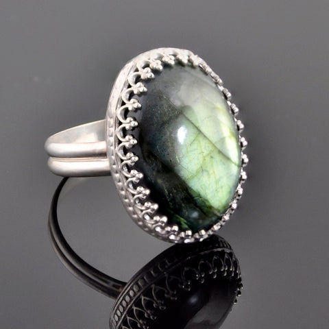 Handmade Labradorite Sterling Silver Crown Ring