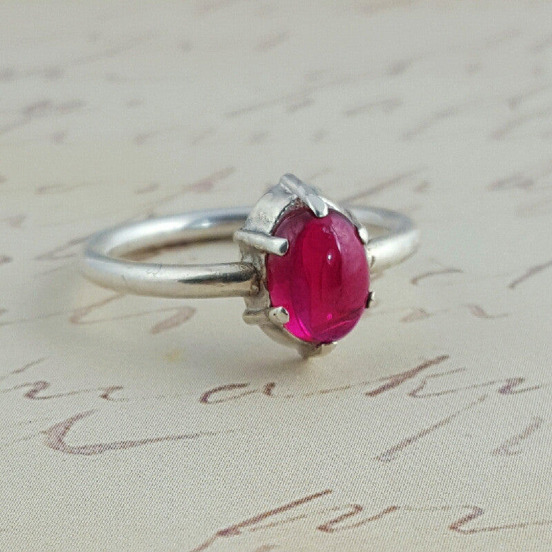 Sterling Silver and Ruby Medieval Ring - Sinclair Jewelry - 1
