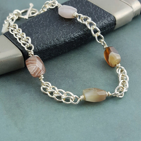 Botswana Agate and Silver Chain Bracelet - Sinclair Jewelry - 1
