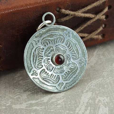 Sterling Silver and Garnet Tudor Rose Pendant - Sinclair Jewelry - 1