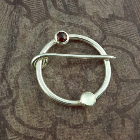 Sterling Silver Garnet and Moonstone Medieval Ring Pin - Sinclair Jewelry - 1