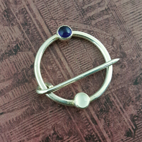 Sterling Silver Amethyst and Moonstone Medieval Ring Pin - Sinclair Jewelry - 1