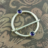Sterling Silver and Amethyst Medieval Ring Pin - Sinclair Jewelry - 1