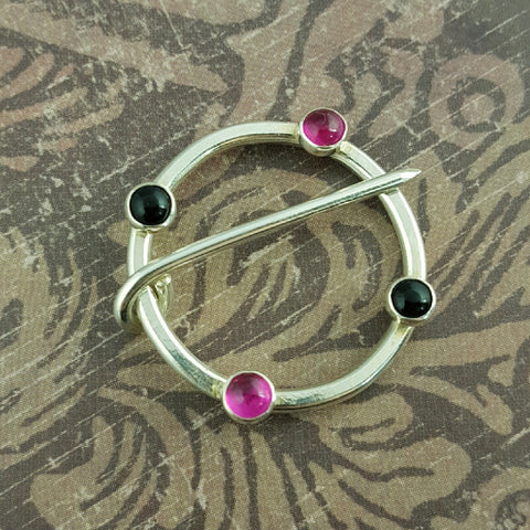 Sterling Silver Ruby and Black Onyx Medieval Ring Pin - Sinclair Jewelry - 1
