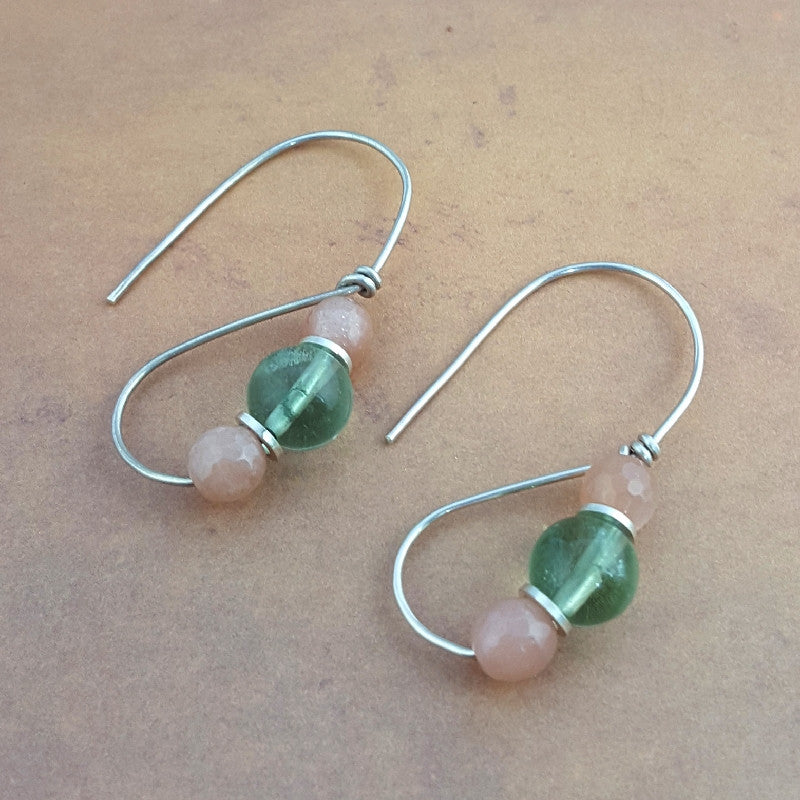 Roman Earrings - Fluorite & Moonstone
