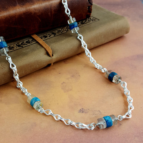 Alexandrian Style - Apatite, Rutilated Quartz & Fine Silver Chain Necklace