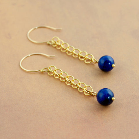 Handmade Chain Lapis Lazuli and 22k Gold Earrings - Sinclair Jewelry - 1