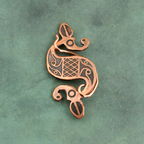 Antiqued Copper Double Dragon Pins - Sinclair Jewelry - 2
