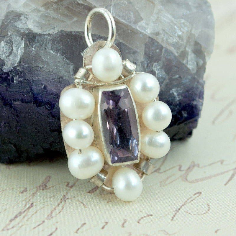 Amethyst & Pearl Byzantine Style Pendant in Sterling Silver - Sinclair Jewelry - 3