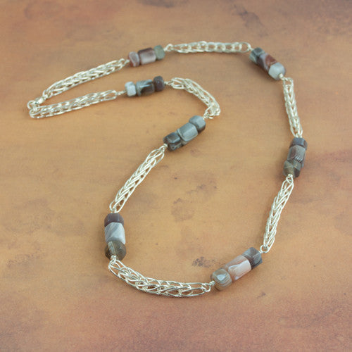 Handmade Chain Botswana Agate and Silver Station Necklace - Sinclair Jewelry - 1