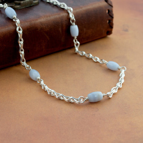 Classical Chain Station Necklace - Blue Lace Agate & Fine Silver - Sinclair Jewelry - 1