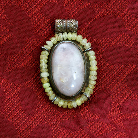 Silver, Rose Quartz and Green Garnet Byzantine Pendant - Sinclair Jewelry - 2