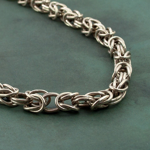 Knight - Solid Sterling Silver Chainmaille Necklace - Sinclair Jewelry - 4