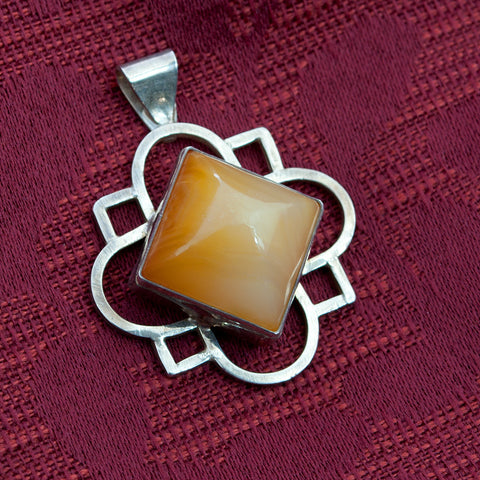 Medieval Carnelian and Sterling Silver Quatrefoil Pendant - Sinclair Jewelry - 1