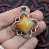 Cathedral – Carnelian & Sterling Silver Quatrefoil Pendant - Sinclair Jewelry - 3