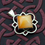 Cathedral – Carnelian & Sterling Silver Quatrefoil Pendant - Sinclair Jewelry - 4