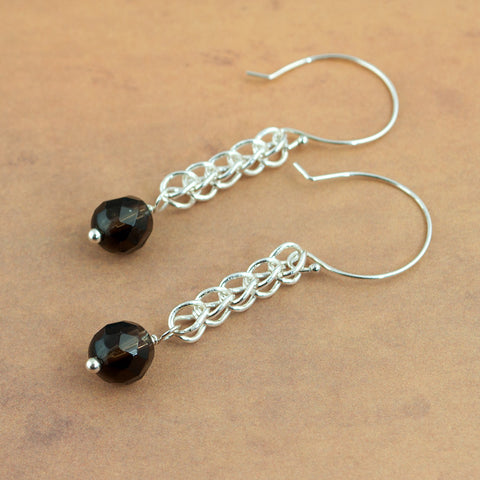 Handmade Smoky Quartz and Silver Chain Earrings - Sinclair Jewelry - 2