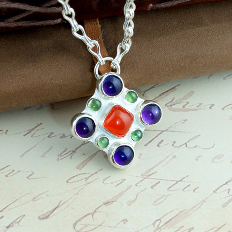 Contessa - Silver, Amethyst, Carnelian & Serpentine Renaissance Necklace - Sinclair Jewelry - 4