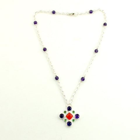 Contessa - Silver, Amethyst, Carnelian & Serpentine Renaissance Necklace - Sinclair Jewelry - 1