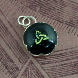 Celtic Knot Pendant - Green Dichroic Glass & Silver