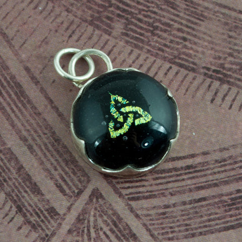 Celtic Knot Pendant Green Dichroic Glass and Silver - Sinclair Jewelry - 1