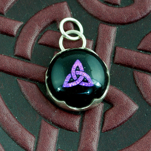 Celtic Knot Pendant Pink Dichroic Glass and Silver - Sinclair Jewelry - 1