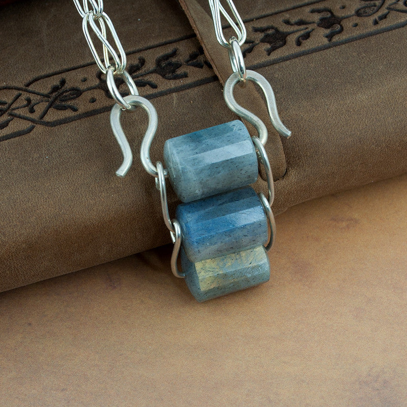 Silver and Labradorite Handmade Chain Necklace - Sinclair Jewelry - 2