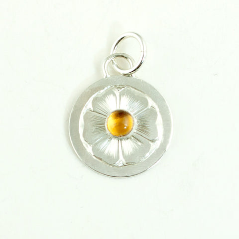 Hand Engraved Silver Flower and Citrine Pendant - Sinclair Jewelry - 1