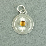 Hand Engraved Silver Flower and Citrine Pendant - Sinclair Jewelry - 2