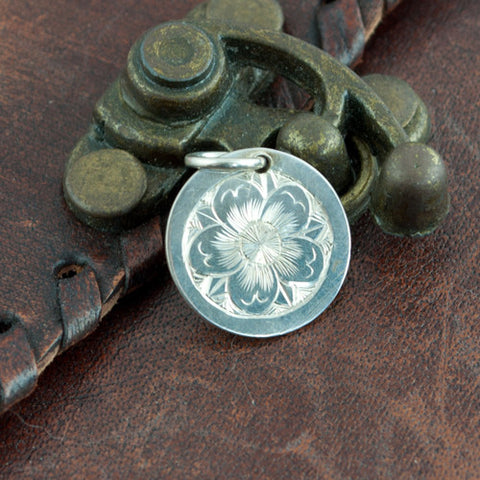 hand engraved silver apple blossom pendant 1