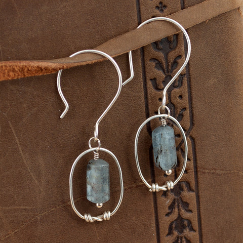 Byzantine Knot Earrings - Kyanite & Sterling Silver - Sinclair Jewelry - 1
