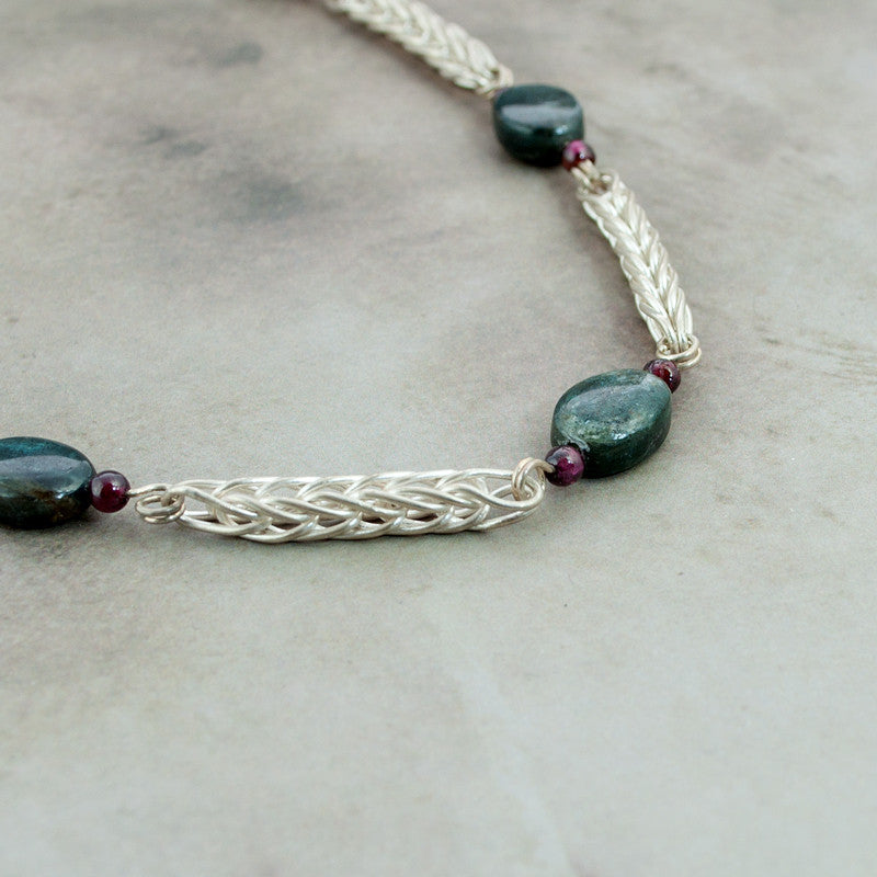 Kyanite, Garnet & Fine Silver Handwoven Station Necklace - Sinclair Jewelry - 2