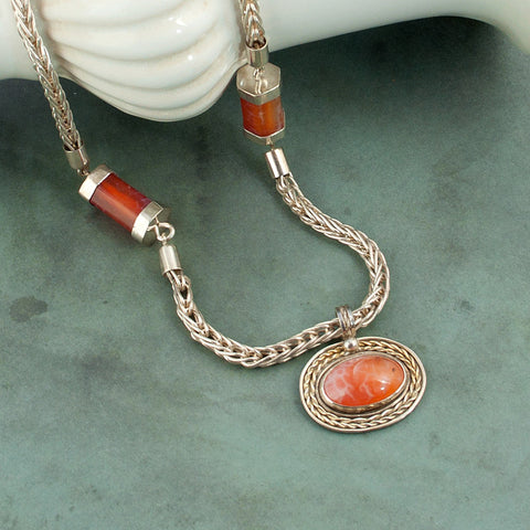 Legend - Silver and Orange Fired Agate Necklace - Sinclair Jewelry - 2