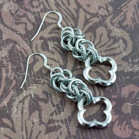 Aluminum Pewter Medieval Chainmaille Earrings - Sinclair Jewelry - 1