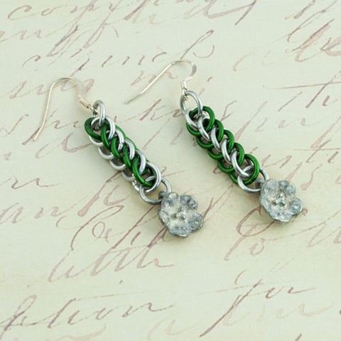 Silver and Green Aluminum Flower Chainmaille Earrings - Sinclair Jewelry - 1