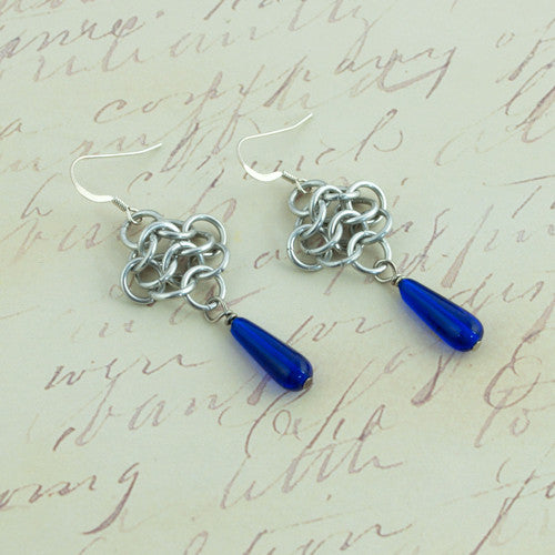 Cobalt Blue Drops and Aluminum Chainmaille Earrings - Sinclair Jewelry - 1