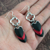 Red and Black Gothic Scalemaille Earrings - Sinclair Jewelry - 3