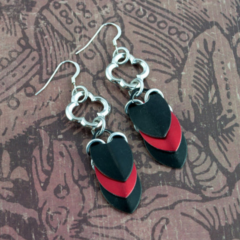 Dragon Lady - Red & Black Scalemaille Earrings