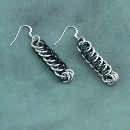 Black and Silver Chainmaille Earrings - Sinclair Jewelry - 1
