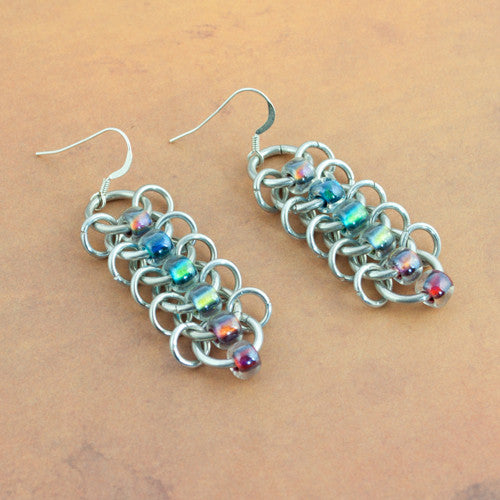 Rainbow Beaded Aluminum Chainmaille Earrings - Sinclair Jewelry - 1