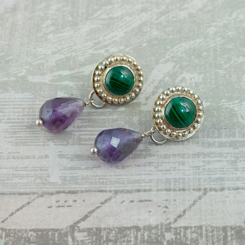 Venus Gemstone Drop Earrings - Malachite & Amethyst - Sinclair Jewelry - 3
