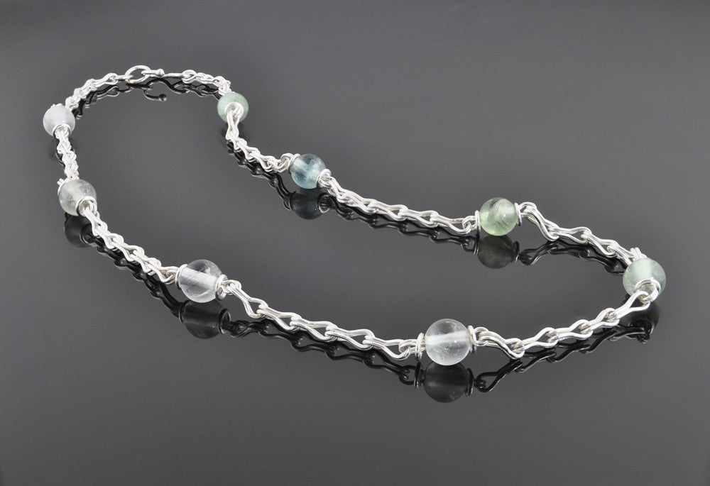 Handmade Chain Fluorite and Silver Station Necklace - Sinclair Jewelry - 3