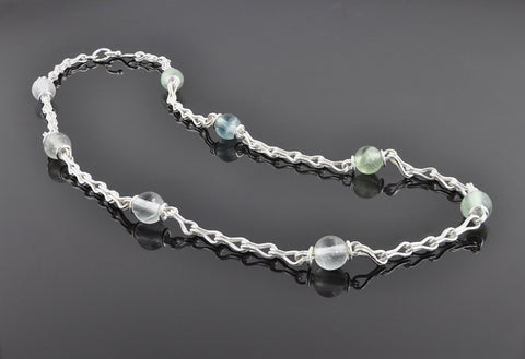 Classical Chain Station Necklace - Fluorite & Fine Silver - Sinclair Jewelry - 3