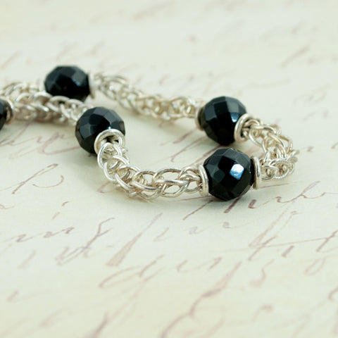 Beaded Classical Chain Bracelet - Faceted Onyx & Fine Silver - Sinclair Jewelry - 1