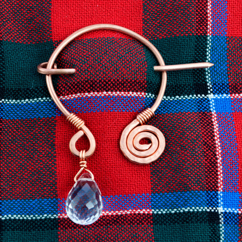 Celtic Spiral Penannular Brooch - Quartz Crystal & Copper - Sinclair Jewelry - 3