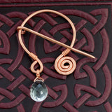 Celtic Spiral Penannular Brooch - Quartz Crystal & Copper - Sinclair Jewelry - 4