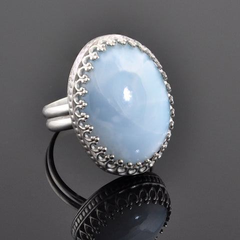 Silver and Larimar Crown Ring - Sinclair Jewelry - 1